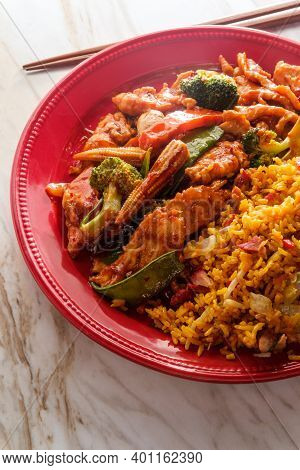 Szechuan Stir Fried Chicken With Chinese Vegetables And Pork Fried Rice