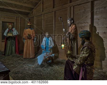 A Nativity Scene From The Time Of The Pandemic.  Lodz, Poland - December 26, 2020 The Three Kings An