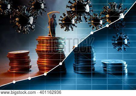 Grim Reaper Coronavirus Stock Market Crash And Recession Conceptual Metaphor With Graph