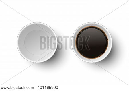 Vector 3d Realistic Paper White Disposable Empty And With Coffee Cup Set Isolated On White. Espresso