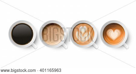 Vector 3d Realistic Ceramic Porclean White Coffee Mug, Cup, Milk Coffee, Foam Set Isolated On White.