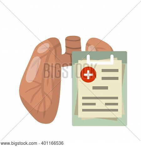 Lung. Problem With Breathing. Medical Care. Internal Human Organs. Cartoon Flat Illustration. Health