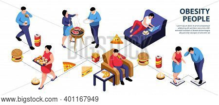 Isometric Obesity Infographics With Characters Of People Icons Of Junk Food Beverage Drinks And Edit
