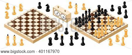 Isometric Chess Board Set With Isolated Icons Of Chess Figures Stopwatch Clock And Two Chequer Board