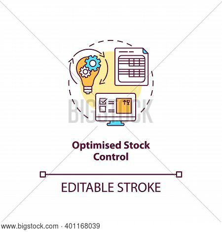Optimised Stock Control Concept Icon. Warehouse Management Software Benefits. Management Solution. S