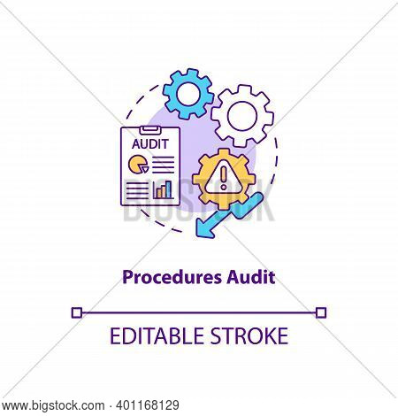 Procedures Audit Concept Icon. Warehouse Audit Elements. Check If Transactions Have Been Recorded. B