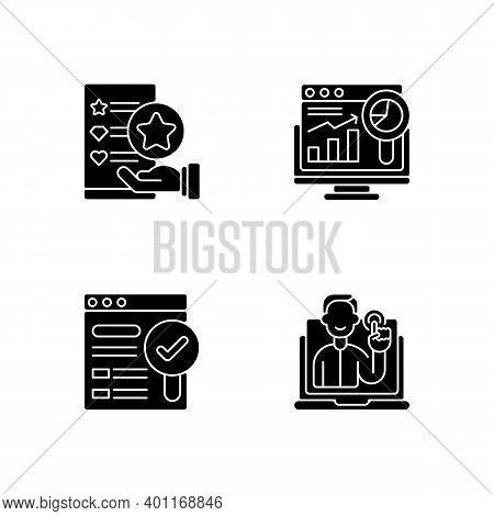 Web Analytics And Management Black Glyph Icons Set On White Space. Usability Evaluation. Findable Si