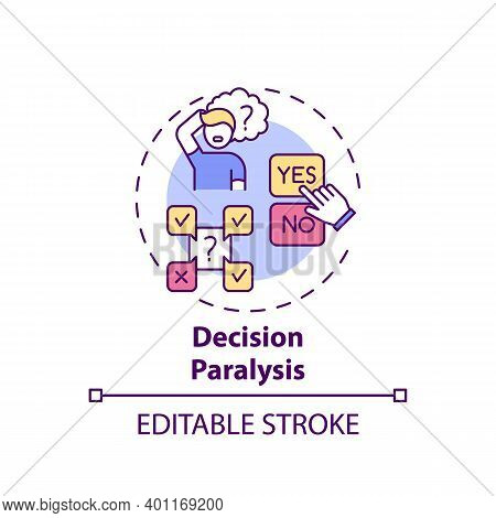 Decision Paralysis Concept Icon. Procrastination Reason Idea Thin Line Illustration. Inability Choos