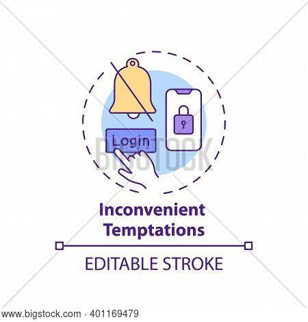 Inconvenient Temptations Concept Icon. Overcoming Procrastination Tip Idea Thin Line Illustration. A