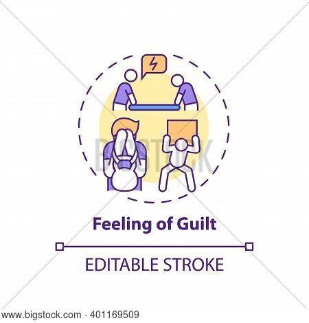 Guilt Feeling Concept Icon. Procrastination Effect Idea Thin Line Illustration. Unworthiness Sense.