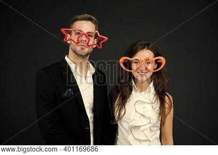 Be My Valentine. Happy Couple Dark Background. Couple In Love. Sensual Couple Wear Party Glasses. Co