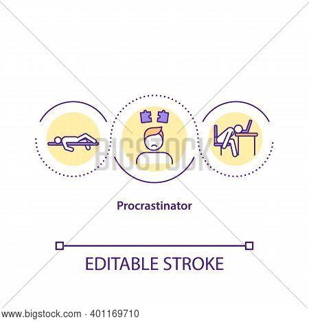 Procrastinator Concept Icon. Action Of Delaying Or Postponing Different Tasks. Doing Work On Last Da