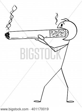 Cartoon Stick Figure Illustration Of Man Or Smoker Holding And Smoking Huge Or Big Cigarette. Concep