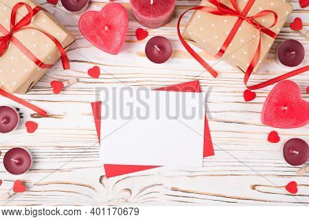 Top Above Overhead Close Up View Photo Of St Valentines Day Composition With Giftboxes And Sheet Of