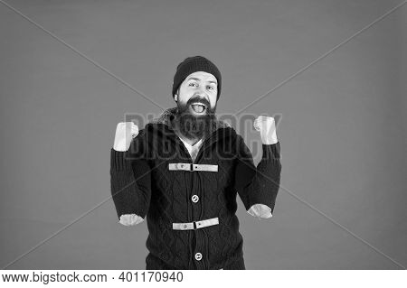 Success. Emotional Expression. Casual Clothes For Winter Season. Hipster With Long Beard. Hipster Li