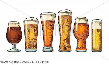 Glass With Different Types Beer - Lager, Ale, Stout. Vintage Color Engraving