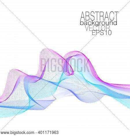 Magenta, Blue, Cyan Curved Lines. Elegant Waves Of Soft Gradient. Dynamic Line Art Pattern. Flowing