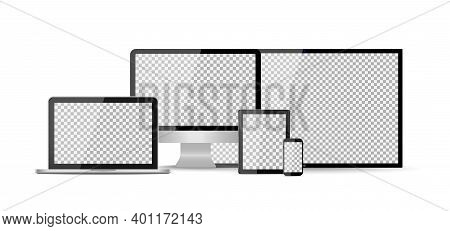 Mockup Of Tv, Computer, Phone, Laptop, Tablet With Digital Screens. Devices Isolated On White Backgr