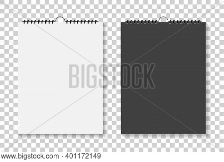 Mockup Of Square Calendar With Spiral. Mock Up Of Notebook Isolated On Background. Blank Template Of