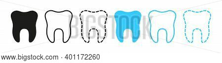 Icon Of Tooth. Logo For Dentist Clinic. Graphic Outline Of Teeth For Dentistry. Symbols Health Of Sm