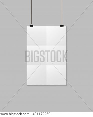 Mockup Of Paper Sheet With Folds. White Poster With Rope And Clip. Vertical Blank Mock Up A4 With Sh