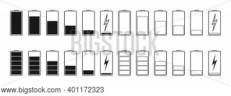 Battery Icons. Full Or Low Charge Of Phone. Symbol Of Charger. Power Of Mobile Lithium Accumulator.