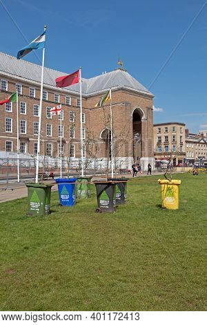 Bristol, Uk - May 8, 2018: Bristol's Moveable Forest, A Pop-up Forest Housed In Wheelie Bins Set Up