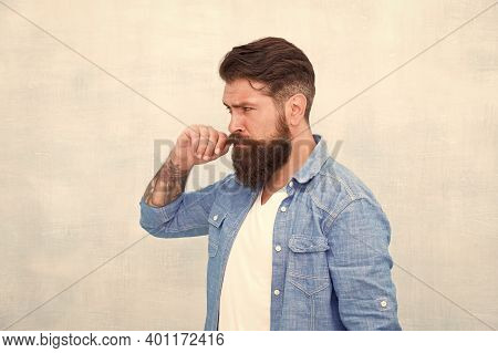 Personality And Character. Charisma Concept. Bearded Well Groomed Hipster. Good Looking Guy Wear Fas