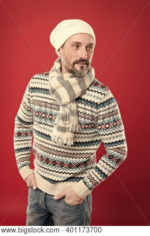 Feeling Comfortable. Mature Man Red Background. Handsome Mature Adult In Casual Winter Style. Mature