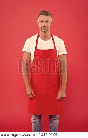 He Is Waiting. Mature Skilled Barista Wear Red Apron. Young Entrepreneur Of Coffee Shop. Male Barist