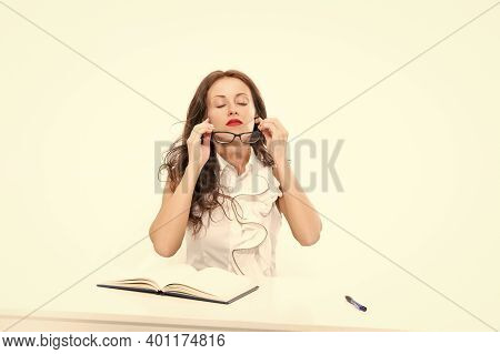 One More Day In Office. Overworked Business Woman In Office. Sexy Lady With Red Lips. Smart Teacher