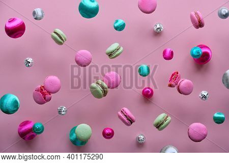 Levitation Of Macaroons, Creative Food Concept Background. Bold Vibrant Pink, Mint Green And Magenta