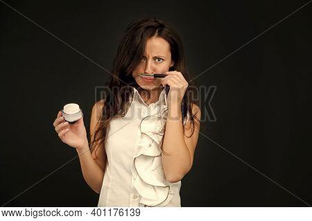 Sexy Woman Professional Make Up Brush. Mineral Foundations. Beauty Salon. Mineral Powder. Sensual Wo