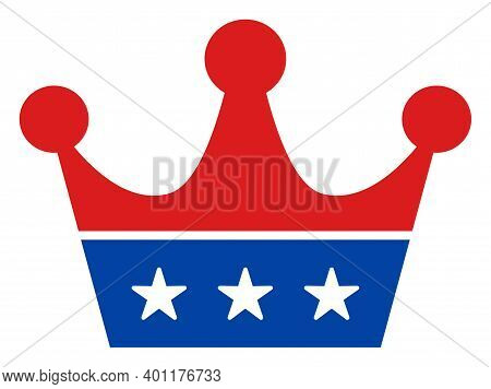 Crown Icon In Blue And Red Colors With Stars. Crown Illustration Style Uses American Official Colors