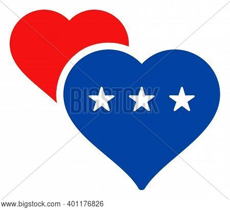 Lover Hearts Icon In Blue And Red Colors With Stars. Lover Hearts Illustration Style Uses American O