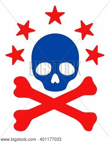 Death Bones Icon In Blue And Red Colors With Stars. Death Bones Illustration Style Uses American Off