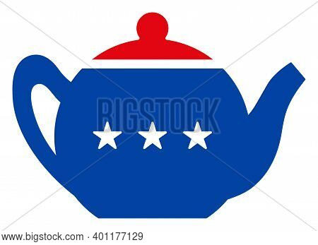 Teapot Icon In Blue And Red Colors With Stars. Teapot Illustration Style Uses American Official Colo