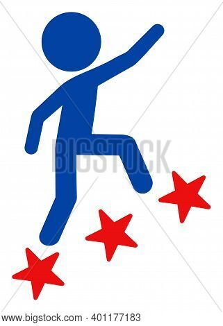 Man Climb Icon In Blue And Red Colors With Stars. Man Climb Illustration Style Uses American Officia