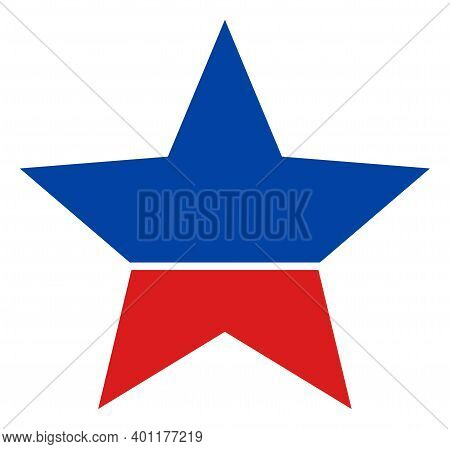 Star Icon In Blue And Red Colors With Stars. Star Illustration Style Uses American Official Colors O