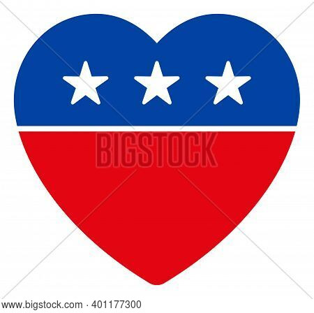 Love Heart Icon In Blue And Red Colors With Stars. Love Heart Illustration Style Uses American Offic