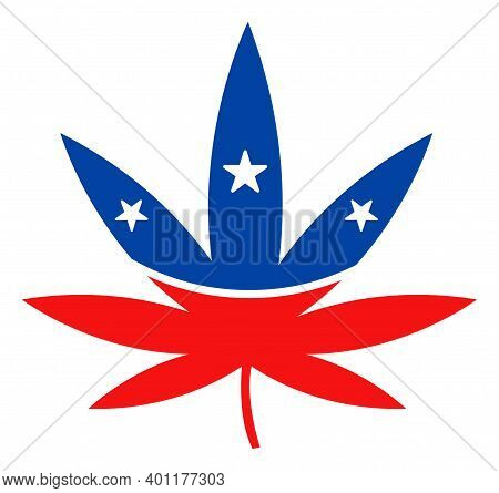 Cannabis Icon In Blue And Red Colors With Stars. Cannabis Illustration Style Uses American Official