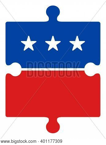 Puzzle Item Icon In Blue And Red Colors With Stars. Puzzle Item Illustration Style Uses American Off