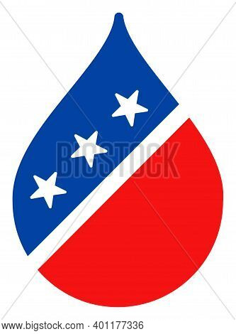 Water Drop Icon In Blue And Red Colors With Stars. Water Drop Illustration Style Uses American Offic