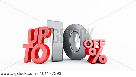 Red 10% Number Isolated On White Background .10 Ten Percent Sale. Black Friday Idea. Up To 10%. 3d R