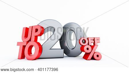 Red 20% Number Isolated On White Background .20 Twenty Percent Sale. Black Friday Idea. Up To 20%. 3