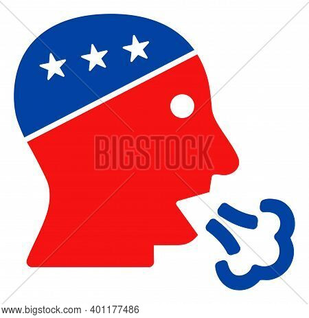 Speaking Man Head Icon In Blue And Red Colors With Stars. Speaking Man Head Illustration Style Uses