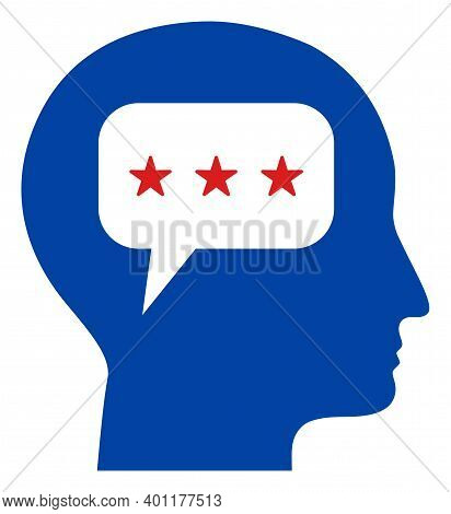 Thinking Head Icon In Blue And Red Colors With Stars. Thinking Head Illustration Style Uses American