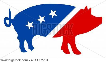 Pork Icon In Blue And Red Colors With Stars. Pork Illustration Style Uses American Official Colors O