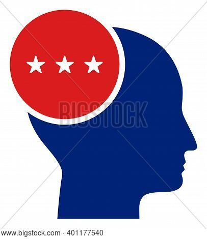 Thinking Person Icon In Blue And Red Colors With Stars. Thinking Person Illustration Style Uses Amer