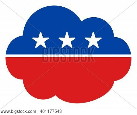 Cloud Icon In Blue And Red Colors With Stars. Cloud Illustration Style Uses American Official Colors